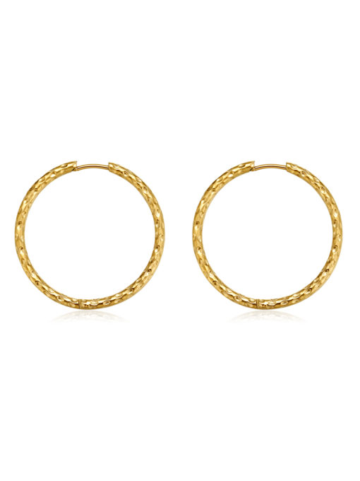 TEXTURED HOOPS LARGE OHRRINGE GOLD ICRUSH Gold/Silver/Rosegold