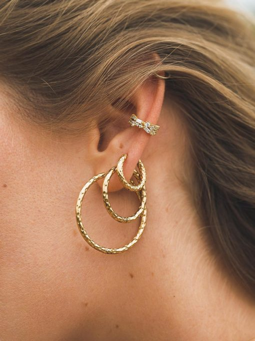 TEXTURED HOOPS LARGE OHRRINGE SILBER ICRUSH Gold/Silver/Rosegold