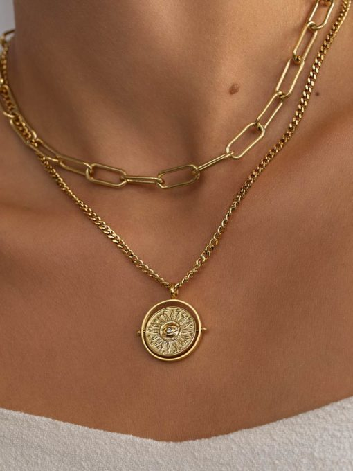 Rotating Sun Flames Kette Gold ICRUSH Gold/Silver/Rosegold