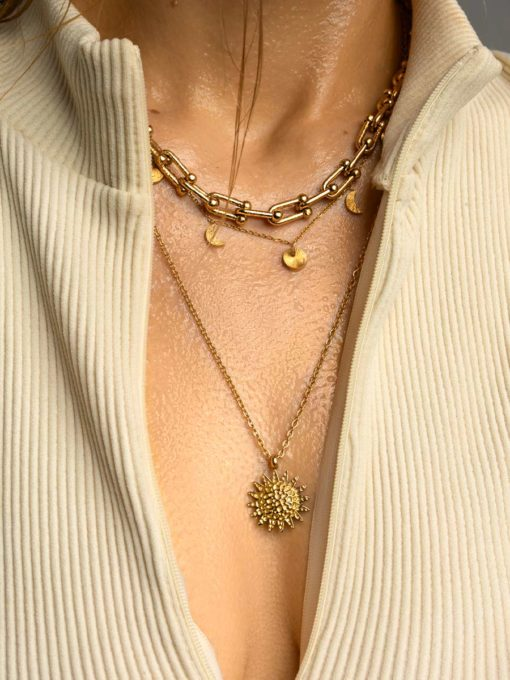 Textured Sun Kette Gold ICRUSH Gold/Silver/Rosegold