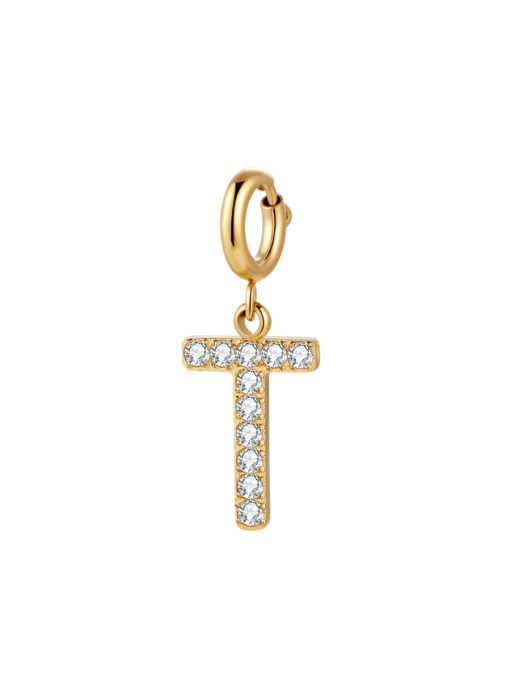 Initial Charm - T ICRUSH Gold/Silver/Rose Gold